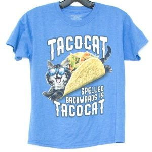 Blue Taco Cat Tee Boys Large 10/12 B2